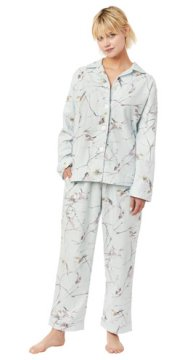 The Cat's Pajamas Women's Meadowlark Classic Flannel Pajama Set in Blue