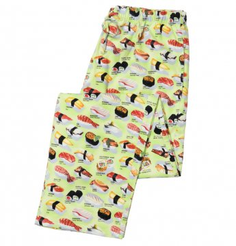 The Cat's Pajamas Men's  Wasabi Sushi Flannel Pajama Pant in Green