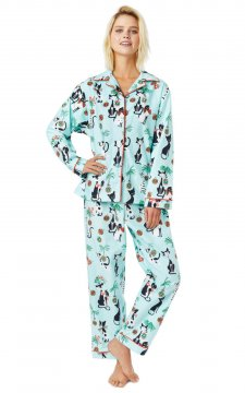 The Cat's Pajamas Women's Merry Meows Flannel Classic Pajama Set in Blue