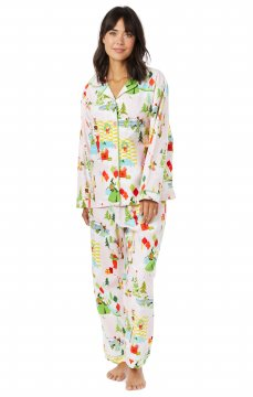 The Cat's Pajamas Women's Merry Moderns Flannel Classic Pajama Set in Pink