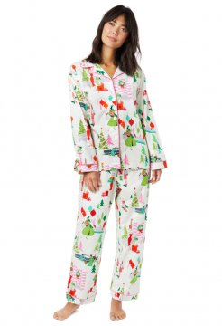 The Cat's Pajamas Women's Merry Moderns Flannel Classic Pajama Set in White
