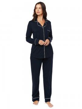 The Cat's Pajamas Women's Midnight Moment Pima Knit Classic Pajama Set