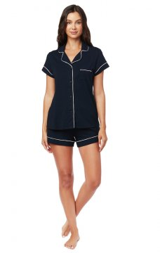 The Cat's Pajamas Women's Midnight Moment Pima Knit Shorts Set