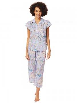 The Cat's Pajamas Women's Moroccan Paisley Luxe Pima Capri Pajama Set in Lavender