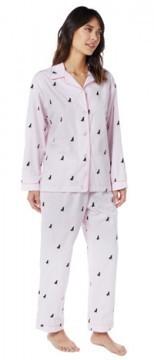 The Cat's Pajamas Women's Nantucket Pup Seersucker Cotton Pajama Set in Pink