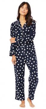 The Cat's Pajamas Women's Navy Sprinkle Dots Classic Flannel Pajama Set
