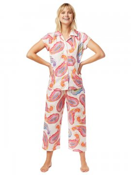 The Cat's Pajamas Women's Paisley Daze Luxe Pima Capri Pajama Set