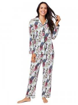 The Cat's Pajamas Women's Peacock Tropicale Luxe Pima Classic Pajama Set