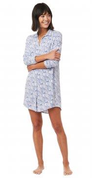 The Cat's Pajamas Women's Peacock Flock Pima Knit Nightshirt