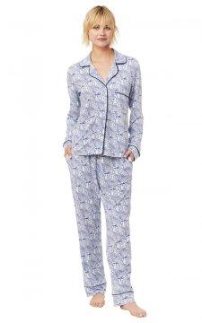 The Cat's Pajamas Women's Peacock Flock Pima Knit Classic Pajama Set