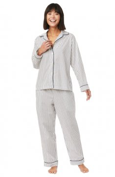 The Cat's Pajamas Women's Petal Stripe Luxe Pima Classic Pajama Set in Blue