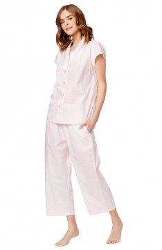 The Cat's Pajamas Women's Pink Gingham Luxe Pima Capri Pajama Set