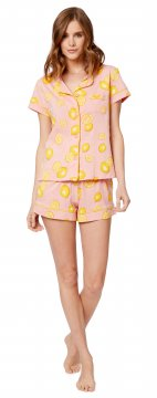 The Cat's Pajamas Women's Pink Lemonade Pima Knit Short Set
