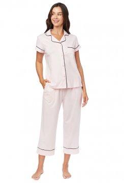 The Cat's Pajamas Women's Pink Moment Pima Knit Capri Pajama Set