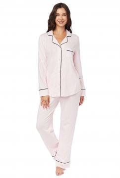 The Cat's Pajamas Women's Pink Moment Pima Knit Classic Pajama Set