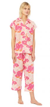 The Cat's Pajamas Women's Poppies Voile Capri Pajama Set