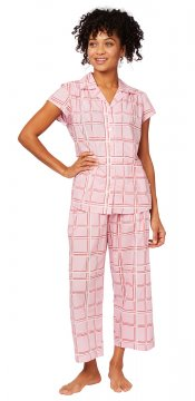 The Cat's Pajamas Women's Pretty in Pink Luxe Pima Capri Pajama Set