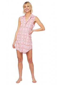 The Cat's Pajamas Women's Pretty in Pink Luxe Pima Classic Sleeveless Nightshirt