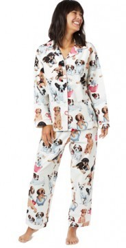 The Cat's Pajamas Women's Teacup Pups Flannel Classic Pajama Set in White
