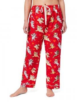 The Cat's Pajamas Women's Puppy Love Cotton Poplin Pajama Pant in Red