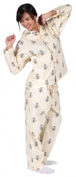 """The Cat's Pajamas Women's """"Queen Bee"""" Poplin Cotton Pajama Set in Cream"""