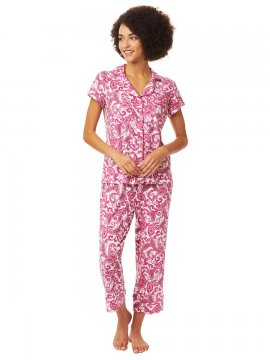 The Cat's Pajamas Women's Queen Anne Pima Knit Capri Pajama Set
