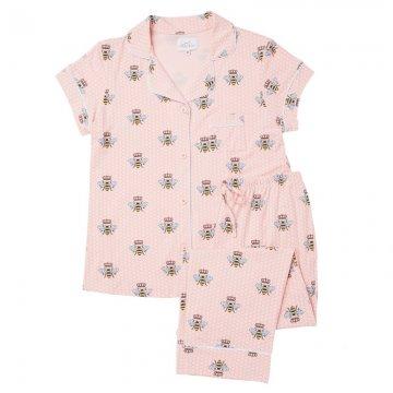 The Cat's Pajamas Women's Queen Bee Luxe Pima Capri Pajama Set in Pink