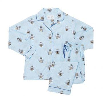 The Cat's Pajamas Women's Queen Bee Flannel Classic Pajama Set in Blue