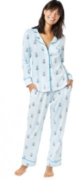 The Cat's Pajamas Women's Queen Bee Cotton Pima Knit Classic Pajama Set in Blue
