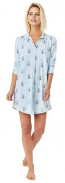 The Cat's Pajamas Women's Queen Bee Pima Knit Nightshirt in Blue