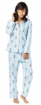 The Cat's Pajamas Women's Queen Bee Poplin Cotton Pajama Set in Blue