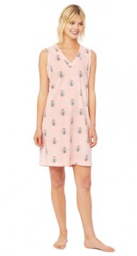 The Cat's Pajamas Women's Queen Bee Pima Knit Nightgown in Pink