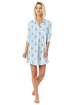 The Cat's Pajamas Women's Queen Bee Pima Knit Classic Nightshirt in Blue