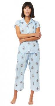 The Cat's Pajamas Women's Queen Bee Luxe Pima Capri Pajama Set in Blue
