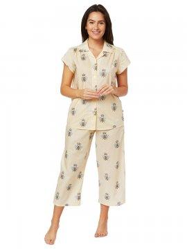The Cat's Pajamas Women's Queen Bee Luxe Pima Capri Pajama Set in Honey