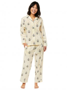 The Cat's Pajamas Women's Queen Bee Luxe Pima Classic Pajama Set in Honey
