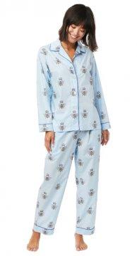 The Cat's Pajamas Women's Queen Bee Luxe Pima Classic Pajama Set in Blue