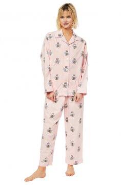 The Cat's Pajamas Women's Queen Bee Luxe Pima Classic Pajama Set in Pink