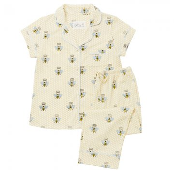 The Cat's Pajamas Women's Queen Bee Pima Knit Capri Pajama Set in Honey