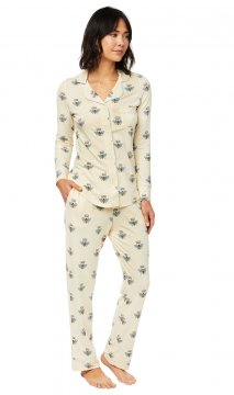 The Cat's Pajamas Women's Queen Bee Pima Knit Classic Pajama Set in Honey