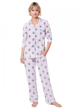 The Cat's Pajamas Women's Queen Bee Pima Knit Classic Set in Lavender