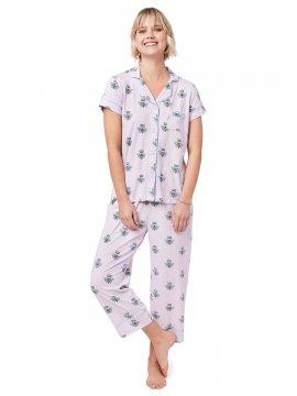 The Cat's Pajamas Women's Queen Bee Pima Knit Capri Set in Lavender