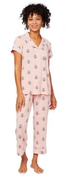 The Cat's Pajamas Women's Queen Bee Pima Knit Capri Pajama Set in Pink