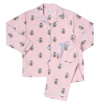 "The Cat's Pajamas Women's ""Queen Bee"" Flannel Classic Pajama Set in Pink"