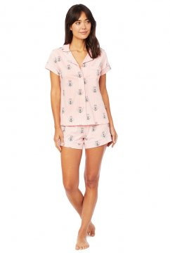 The Cat's Pajamas Women's Queen Bee Pima Knit Shorts Set in Pink