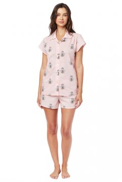The Cat's Pajamas Women's Queen Bee Luxe Pima Shorts Set in Pink