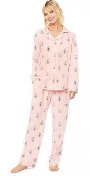 The Cat's Pajamas Women's Queen Bee Pima Knit Classic Pajama Set in Pink
