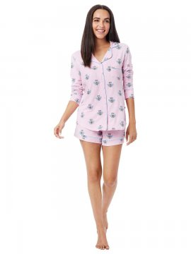 The Cat's Pajamas Women's Queen Bee Pima Knit Long Sleeve Short Set in Pink