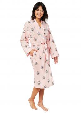 The Cat's Pajamas Women's Queen Bee Luxe Pima Robe in Pink