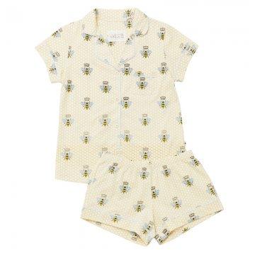 The Cat's Pajamas Women's Queen Bee Pima Knit Short Set in Honey